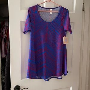 Lularoe Perfect T X Small Blue and Pink
